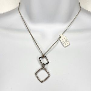 NEW LIa Sophia Slvr T Square Drop Pendant Necklace